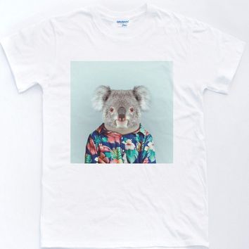2018 New 100% Cotton Funny O Neck T Shirt Koala Selfie T-Shirt Vintage Floral Pattern Indie Retro Animals Top custom Tee shirt
