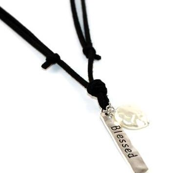 SUEDE STRING BLESSED BAR WITH FRESH WATER PEARL LONG NECKLACE