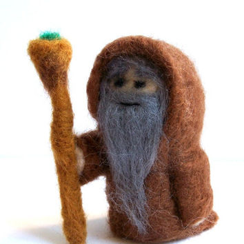 Needle Felted Wizard Miniature Merlin / Druid by Knittynudo