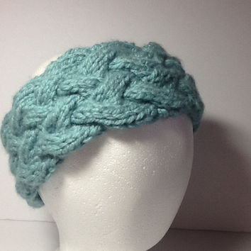 Chunky Headband, cable knit, Aqua, blue, seagreen, soft, warm, acrylic head wrap, fleece lined option.
