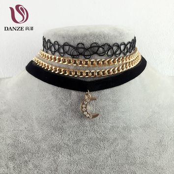 Danze 2017 Vintage Velvet Choker Necklaces For Women 3 Pcs/lot Moon Fur Ball Pendant Necklace Fashion Girls Chocker Collares