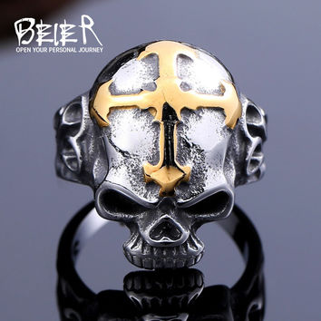 316L Stainless Steel ring top quality Hot sale men  Punk  Skull Ring Skeleton Style fashion jewelry