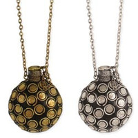 Antiqued Metal Perfume Bottle Long Necklace