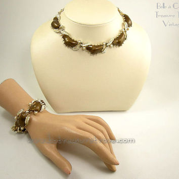 Coro Necklace and Bracelet Set Chocolate Brown Lucite Faux Pearl on Goldtone