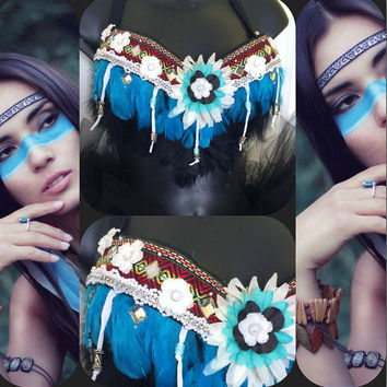 Turquoise Indian Princess Bra: festival/ rave wear, edm, Indian, burning man, halloween, costume, native american, edc, tribal, aztec