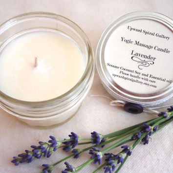 Custom Blend Essential Oil Mini mason jar massage candle. Sesame Coconut Soy Massage candle.