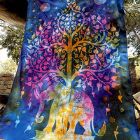 TIE DYE twin elephant tapestry psychedelic hippie boho bohemian wall hanging bedspread bed cover throw tree of life ethnic home decor