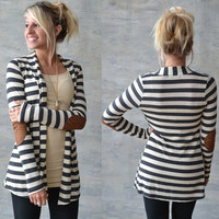 Women Cardigans Black Stripped Open Stitch Coat Outerwear Casual Jackets
