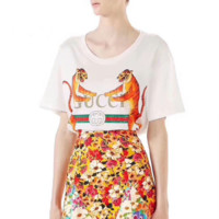 """Gucci"" The tiger Hot letters print T-shirt top"