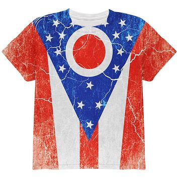 Ohio Vintage Distressed State Flag All Over Youth T Shirt
