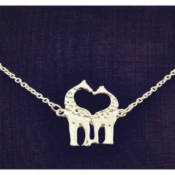 Silver Plated Chain Link Double Giraffe Pendant Necklace For Women
