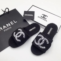 Chanel Womens Trending Black Beach Casual Sandals Slipper