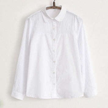 Ladies Office Shirts 100% Cotton Collar Button Down Formal Long Sleeve White Shirt Women Partially Semi Sheer Top S M L XL XXL