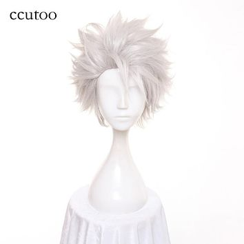 ccutoo Men's Short Silver White Layered Fluffy Synthetic Cosplay Hair Wigs Heat Resistance Fiber Slicked Back Styled