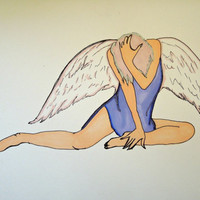 "Fallen Angel Original Drawing Pen and Ink with Prismacolor 5.5"" x 7.5"" SFA"
