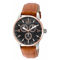 Invicta 7023 Men's Signature II Black Dial Light Brown Leather Strap Watch