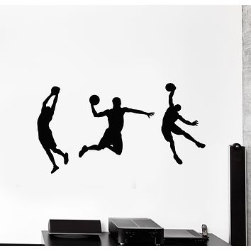 Vinyl Wall Decal Basketball Players Silhouette Fan Game Ball Sport Stickers Mural (g866)