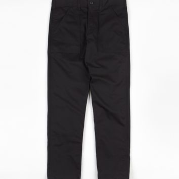 SLIM 4 POCKET FATIGUE PANTS - BLACK TWILL