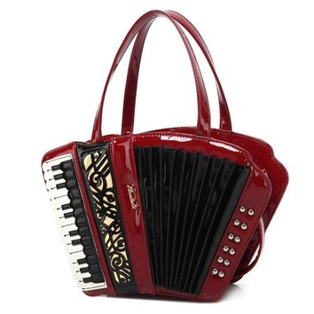 2017 Women's vintage accordion bag Musician's handbag party concert use novelty Trong music purse Preppy Style Crossbody Bags Me