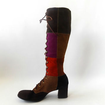 60s Patchwork Tall Boots Vintage Multi Color Suede Leather Lace Up Riding Boot Womens Size 8 Hippie Bohemian 1960s Boho Festival Knee High