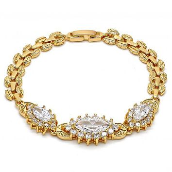 Gold Layered 03.221.0011.07 Fancy Bracelet, Leaf Design, with White Cubic Zirconia, Polished Finish, Gold Tone