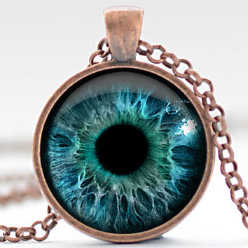 Eye Necklace, Third Eye Jewelry, Evil Eye Charm, Eyeball Pendant (953)