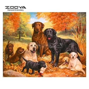 5D Diamond Painting Labrador Dogs and Puppies Kit