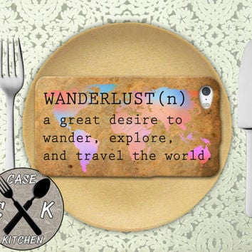 Wanderlust Definition World Map Rainbow Travel Wander Rubber Tough Case iPhone 4 and 4s and iPhone 5 and 5s and 5c and iPhone 6 and 6 Plus +