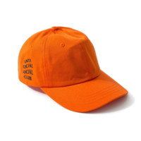 Unique Orange Anti Social Social Club Embroidered Unisex Adjustable Cotton Sports Cap Hat