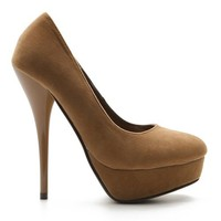 Ollio Women's Faux Suede Platform Pump Closed Toe High Heel Taupe Shoes