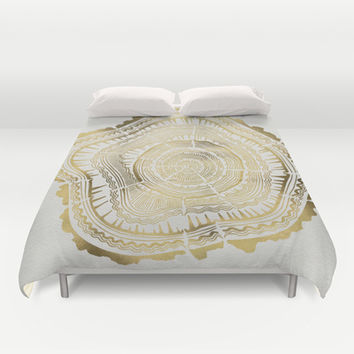 Gold Tree Rings Duvet Cover by Cat Coquillette