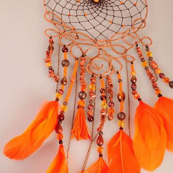 Orange Dream Catcher, Sunny Dreamcatcher, Fiery Decor, Copper Dreamсatcher, dreamcatchers, lampwork beads, metal,glass, crystals, aventurine