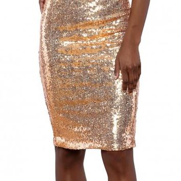 Apricot Glitter Me Crushed Sequin Pencil Skirt