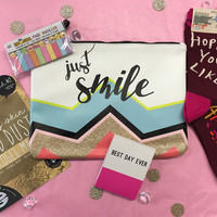 Just Smile Gift Pack: Glitter Clutch plus Socks, Notepad, Face Mask and More
