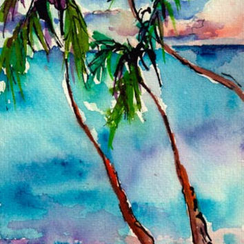 Tropical Palms Tree Small Watercolor Painting