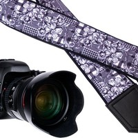 Black and white Camera strap. Flowers camera strap. Floral camera strap.  DSLR / SLR  Camera Strap. Camera accessories by InTePro