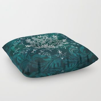 Elegant Floral leaf pattern Blue Green Floor Pillow by inspiredimages