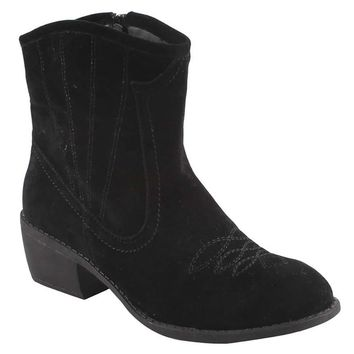 Calico-2 Black Women Cowboy Ankle Booties