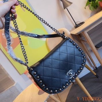 HCXX 19Sep 853 Fashion Chain Rivet Classic Flap Bag Casual Shoulder Crossbody Quilted Saddle Bag 23cm