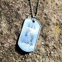 Personalized Dad Necklace - Dog ID Tag Necklace - Personalized Handstamped Dad Necklace
