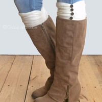 GRACE & LACE: Ruched Boot Cuffs - Ivory