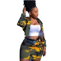 Women Two Piece Camouflage Denim Jacket Skirt Set