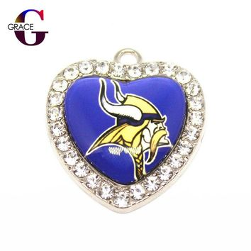 Minnesota Vikings Football Team Crystal Glass Heart Sports Hanging Dangle Charms DIY Women Bracelet Necklace Jewelry Accessory