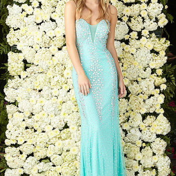 G2072 Jeweled Prom Dress Pageant Evening Gown