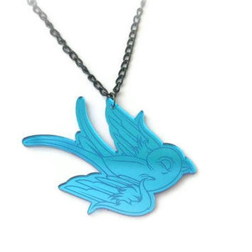 ROCKABILLY Blue mirrored swallow necklace by DeathwishDesign