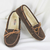 Minnetonka Suede Leather Mocs size 10 Brown Faux Fur Lined Womens Comfort Shoes