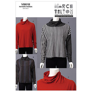 MARCY TILTON Pullover Top Pattern Cowl Neck Top Vogue 8618 Bust 38 40 42 44 UNCuT Moderate Stretch Knits Plus Size Womens Sewing Patterns