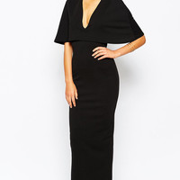 Black Cape Overlay V-neck Maxi Pencil Dress