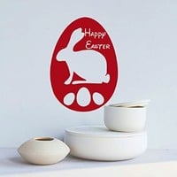 Easter Wall Decor Sunday Decal Vinyl Egg Sticker Kitchen Home Decals Interior Design Cafe Restaurant Hare Art Murals Ah127