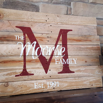 Rustic Personalized Wood Monogram Sign-Pallet Moorse style